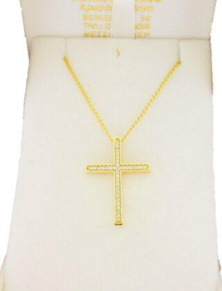 Σταυρός χρυσός 14 καράτια με ζιργκόν Κ14.88792