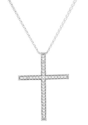 Σταυρός λευκόχρυσος 14 καράτια με ζιργκόν Κ14.87714