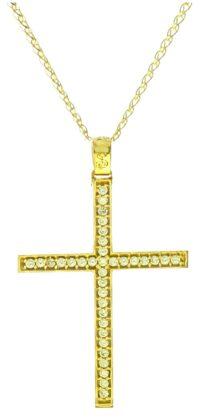 Σταυρός χρυσός 14 καράτια με ζιργκόν Κ14.88803